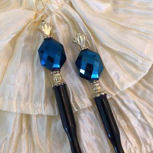 Accessories - Set Pair of Wooden Beaded Hair Bun Sticks